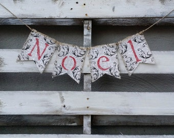 Noel Burlap Banner, Vintage Christmas Decor, Christmas Banner, Holiday Decor, Rustic Winter Decor, Holiday Photo Prop