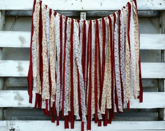 Rustic Wedding Fabric and Lace Rag Garland Backdrop, Rag Tie Backdrop, Rustic Wedding Decor, Vintage Inspired Backdrop, Photo Booth Prop