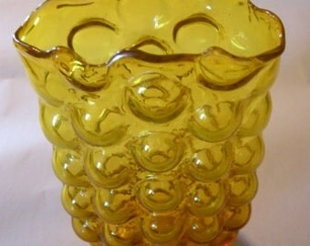 Amber Glass Hand Blown Blenko Midcentury Modern Sculptural Vase