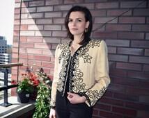 SALE OSCAR de la RENTA couture jacket amazing details 80's perfect for wedding event vintage french italian spanish passementerie