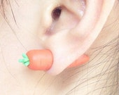 Front and back Easter Polymer Clay Carrot Stud earrings