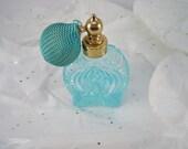Vintage Atomizer Blue Glass with bulb Perfume Bottle Art Deco