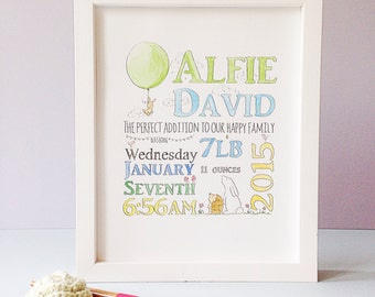 New baby name gift/announcement - bunny on a balloon