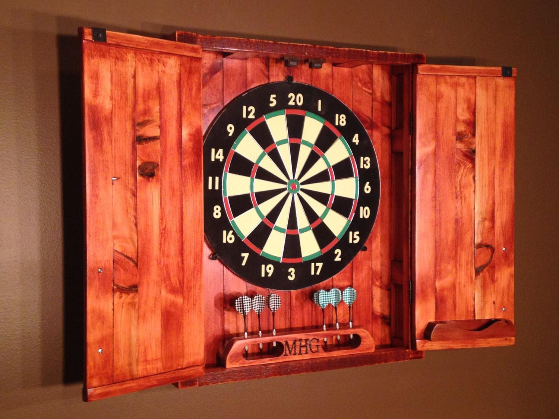 Dart Board Cabinet With Chalkboard Rustic Engraved Dartboard Cabinet Cedar Home Decor Home