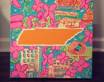Lilly Pulitzer Inspired Tennessee Painted Canvas 12x12