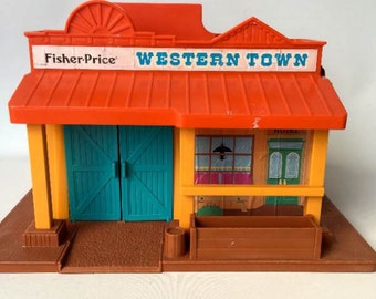 Vintage 1980's Fisher Price Western Town Playset