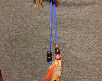 Boho Festival Hippie Leather Ponytail Holder ~ Orange Gold Blue Feathers