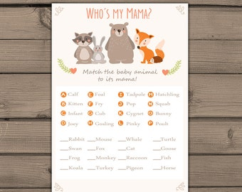 baby shower game match baby animals game instant download woodland baby shower forest animals gender neutral