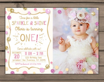 Sparkle and Shine Birthday Party Invite with photo Gold glitter Pink Invitation Girl Birthday Invitation First Birthday invitation PRINTABLE
