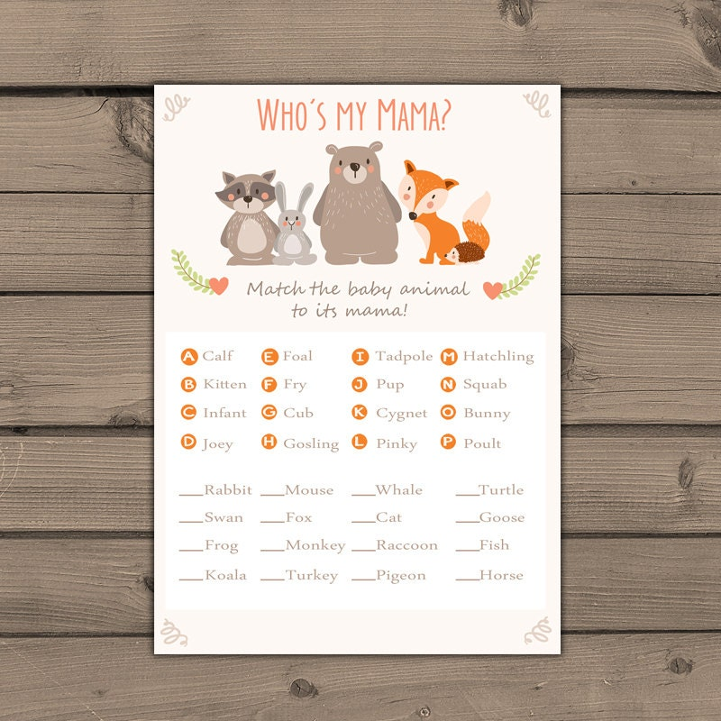 Baby Shower Game Name The Baby Animal: Baby Shower Game Match Baby Animals Game Instant Download