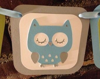 Owl baby shower banner It's a boy banner/ sleeping owl It's a boy banner