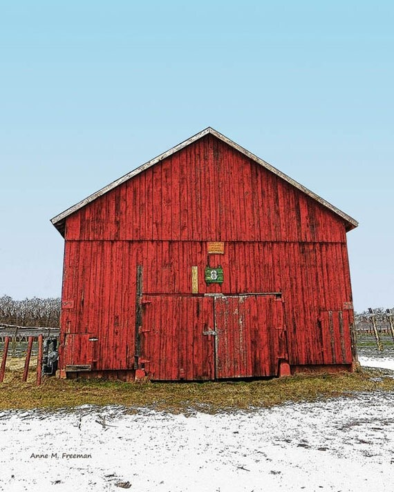 Red Barn Wall Decor : Old red barn wall art by annefreemanimages