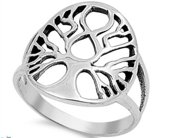 Oval Shape Tree of Life Ring Solid 925 Sterling Silver Tree of Life Ring Spiritual Gift Tree of Life Jewelry Size 4-16