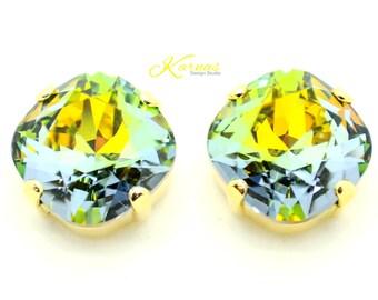 GOLDEN SAHARA 12mm Crystal Cushion Cut Stud Earrings Swarovski Elements *Pick Your Finish *Karnas Design Studio *Free Shipping*