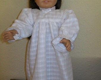 Nightgown in White, Polyester Patterned Flannel for the American Girl and 18 Inch Dolls