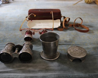 Victorian Binoculars, Brown & Bigelow Fernglas Sport Glasses, and Cyclist Cup Combination