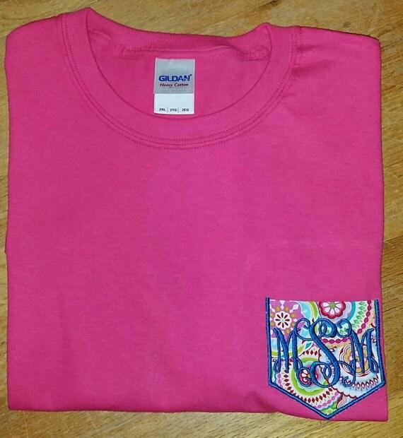 Monogrammed pocket t shirt embroidered