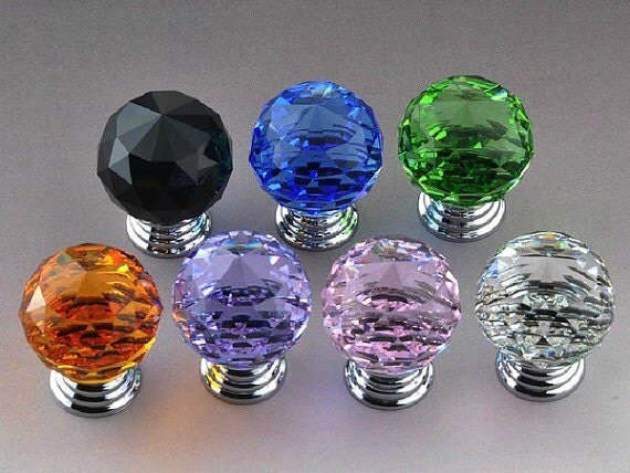 Glass knobs crystal dresser knob colorful drawer knobs pull for Colored glass cabinet knobs