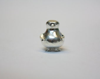 Sterling Silver Penguin Big Hole Bead Charm Fits Pandora, Troll etc
