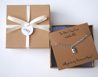 Will You Be My Bridesmaid Gift, Locket, Lock, Silver Necklace, Maid of Honor, Wedding Favor, Bridal Shower