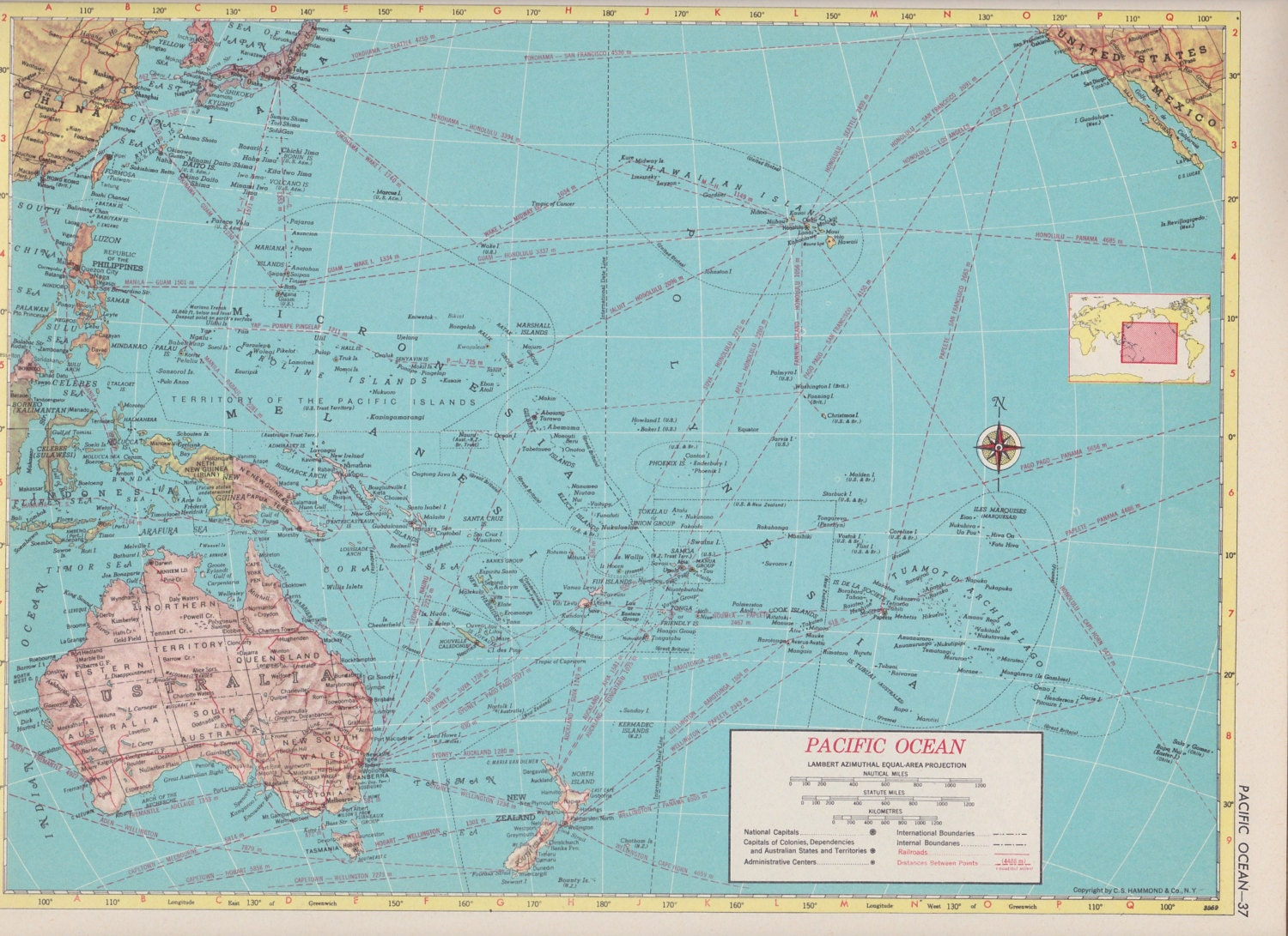 Off Estate Sale Vintage Map Art Map Of Pacific Ocean S - Map of usa for sale