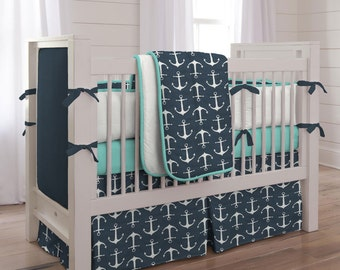 Boy Baby Crib Bedding: Navy Anchors 4-Piece Set by Carousel Designs