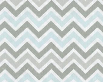 Mist and Gray Chevron Fabric - By The Yard - Blue / Gray / Chevron / Zig Zag