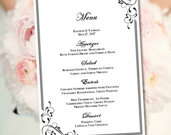 Printable Wedding Menu Template Elegance Black White Make Your Own Menus Word