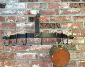 Wrought iron pot rack, wall mounted pot rack