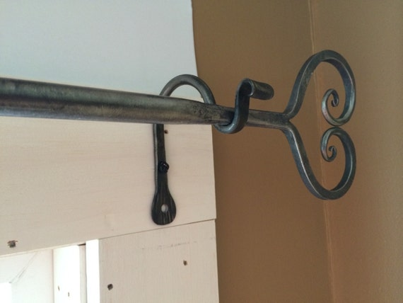 Items similar to wrought iron curtain rod heart design wrought iron curtain rod on etsy - Custom iron curtain rods ...
