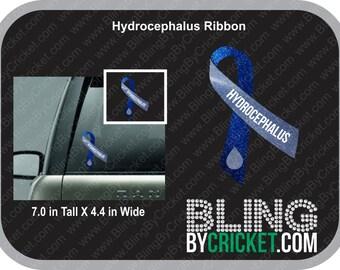 Glitter Hydrocephalus Awareness Ribbon Decal, Custom Name Option