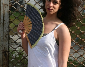 "Crafted Wooden Hand fan ""Polka dot"" fabric"