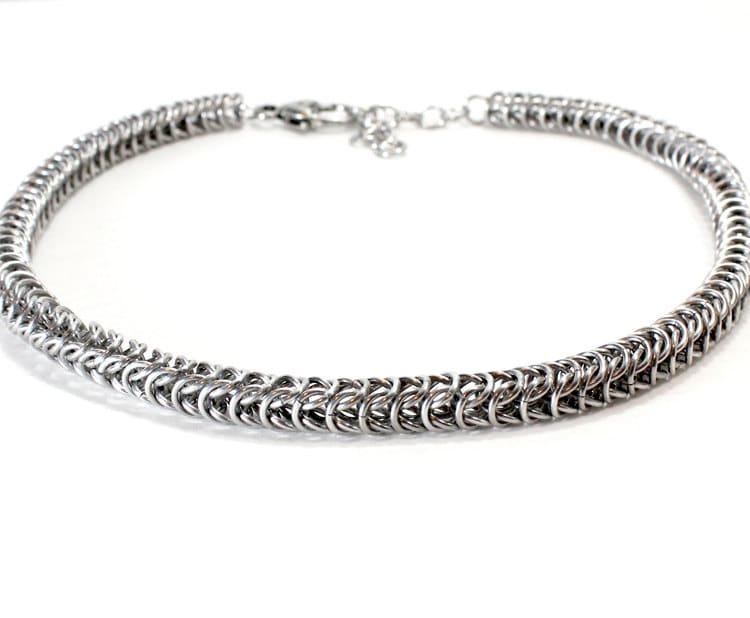 Silver Chain Maille Collar. Box Chain Dog Collar. Box Maill
