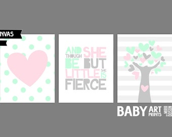 Pink and Mint Nursery canvas art, Set of 3 8x10. Though she is but little she is fierce, Heart, Tree ( S8105002 )