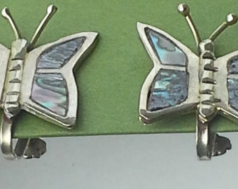 vintage taxco sterling silver  with abalone, screw back butterfly earrings