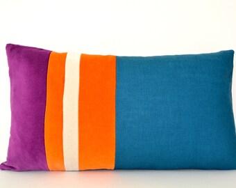 striped velvet and linen pillow cover in teal orange and purple velvet lumbar
