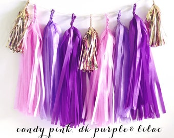 Bridal Shower Banner Purple - Purple Wedding Decor - Purple and Lilac Wedding Decorations Purple Candy Buffet DIY Tassel Garland KIT(EB3086)