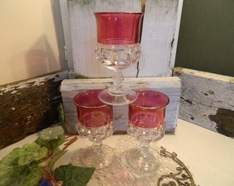 Set of 3 Vintage Indiana Glass Co Kings Crown Thumb Print Ruby Glass Pedestal Water Goblets Glasses