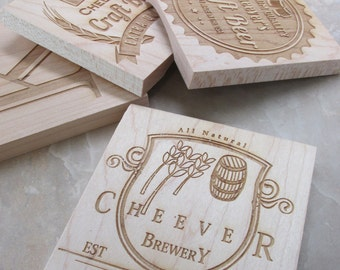 Engraved Craft Beer Coasters - Custom Craft Beer Coaster - Personalized Wood Coaster - Wooden Drink Coaster Set - Personalized Bar Coasters