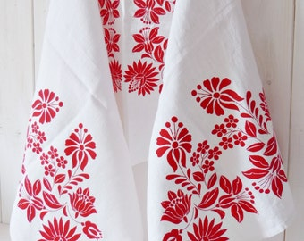 Home textile, Linen Table Runner, Folk Pattern, Screen printed Hungarian Kalocsa Pattern- White-Red