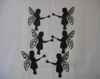 6 Fairy girl silhouette die cuts