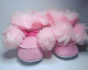 Toddler Boots Baby Boots Trim Fur Baby Boots Baby Shoes Toddler Shoes Baby 12-16 Months