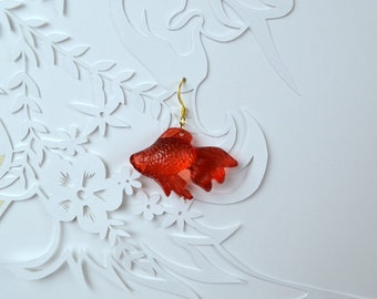 EARRINGS. Red translucent fish.