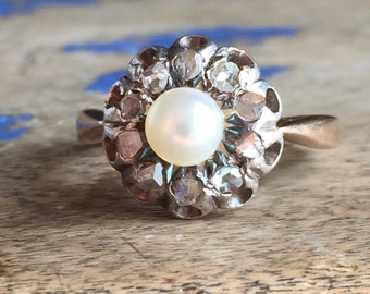 Georgian Natural Pearl and Table Cut Diamond Ring