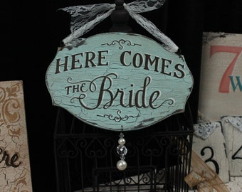 "8x11.5 Completely Hand Painted Custom Made Wood Sign, ""Here Comes The Bride"" and ""Mr and Mrs (Last Name)"" Shabby Chic, Cottage Chic, Vintage"