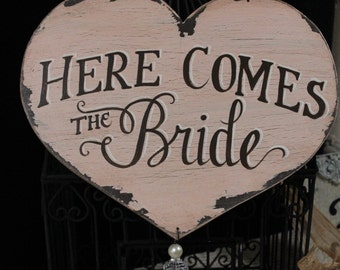 "10x12 Completely Hand Painted Custom Made Heart Sign, ""Here Comes The Bride"" and ""Mr and Mrs (Last Name)"" Shabby Chic Sign"
