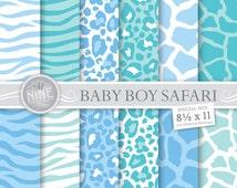 "BABY BOY SAFARI Digital Paper 8 1/2"" x 11"" Pattern Prints, Instant Download, Paper Pack Patterns Scrapbook Print"