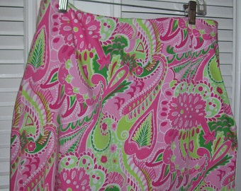 Vintage Island  pink short skirt, front split, see pic.  Size 10 pink and green ppl