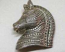 Vintage Brooch - Majestic, Silver Tone, Detailed, Zebra/Horse Head Design Pin