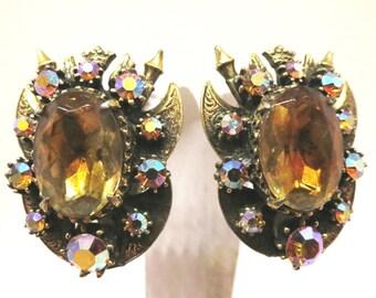 Amber Rhinestone Earrings - Vintage, Florenza Signed, Gold Tone, Glass, Aurora Borealis Rhinestones, Clip-on Earrings